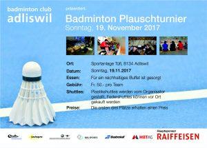 Badminton Plauschturnier @ Sportanlage Tüfi