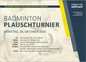 Badminton Plauschturnier 30.10.21